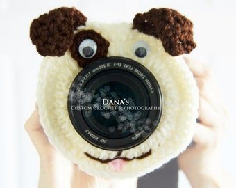 Puppy Camera Lens Buddy - Crochet - Handmade - Photography Prop - Kids - Children - Gift