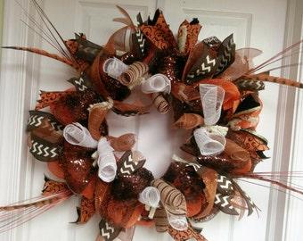 Orange and Black Deco Mesh Wreath