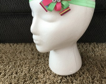 3 inch stacked hairbow with headband