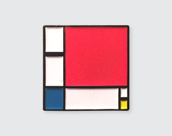 "Enamel Pin Inspired by ""Composition II in Red, Blue, and Yellow"" by Piet Mondrian"