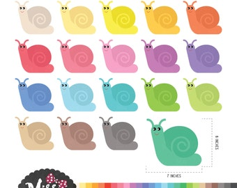 30 Colors Snail Clipart - Instant Download