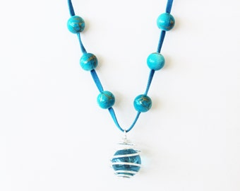 Turquoise Bead and Leather Necklace-round turquoise beads/ gold flecks-turquoise leather cord-marble swirl focal piece-silver claw clasp