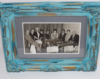 vintage photograph in hand painted frame