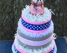 Pink and blue diaper cake, uniqe baby gift, diaper cake twins, gender reveal diaper cake, diaper centerpiece, diaper cake boy, diaper cake