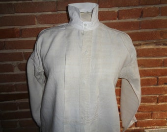 Antique French hemp linen shirt dress tunic pleated front natural