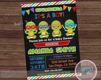 ninja turtles baby shower invitation ninja turtles baby shower ninja