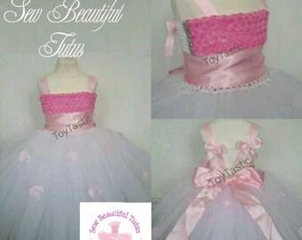 White/Pink Flower Girl Tutu Dress - Tulle - Formal - Wedding - Bridesmaid - 3D Flowers - Ball Gown