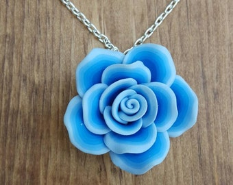 Rose pendant necklace / Handmade, dark blue to light blue ombre, polymer clay flower