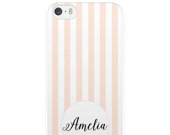 Pink and White Striped iPhone Case, Custom iPhone Case, Personalised iPhone Case, iPhone 5, iPhone 5s, iPhone 6, iPhone 6s, Gift