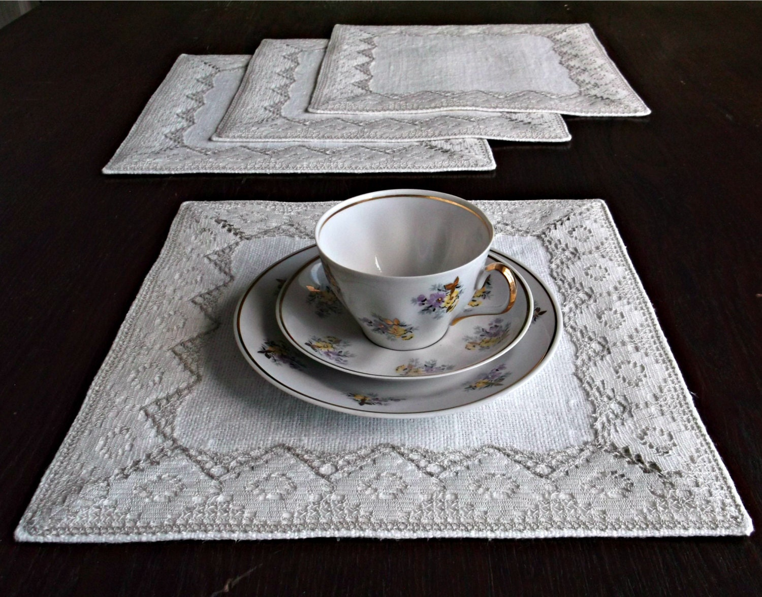 Off white fabric placemats linen lace table mat small square for Small square placemats