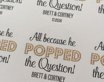 He Popped the Question, Popcorn Favors, Wedding Favors, Custom Stickers, Wedding Stickers, He Popped the Question Stickers, Stickers
