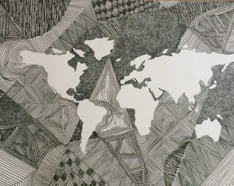 World Map Pen and Ink
