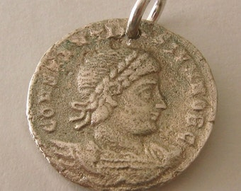Genuine SOLID 925 STERLING SILVER Small Ancient Roman Coin charm/pendant