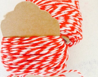 Red and White Bakers Twine 10m Length for Christmas Gift Wrapping, Scrapbooking, DIY, gift wrapping, tags supply