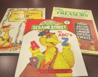 Sesame Street, Big Bird, Learning ABC's, Muppets, picture books, early learning, pre-school, alphabet, Jim Henson, set of ABC books