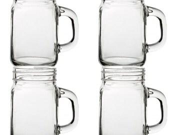 Set of 4  Pint Size Mason Drinking Jars Handled vintage retro style