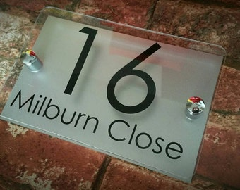 Modern Contemporary Property Number Door Sign Plaque (PRA5-27B-S-C)