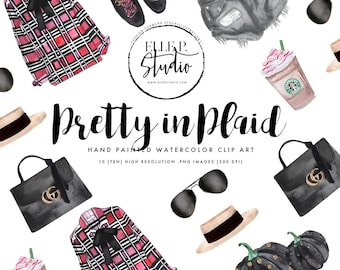 Fall Themed Outfit and Accessories Clipart Bundle - Plaids & Guccis by Elle P. Studio