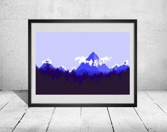 Blue 2D Minimalist Landscape Poster
