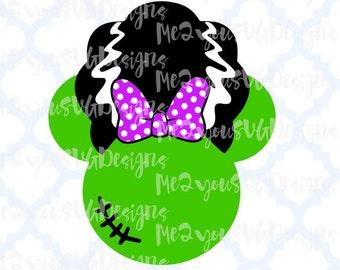 Minnie Bride of Frankenstein Mouse Head SVG,EPS,PNG,Studio