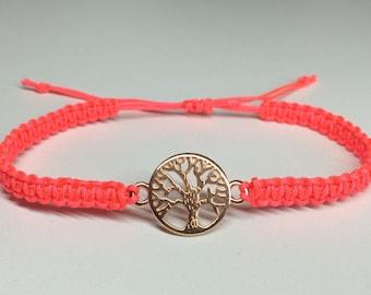 Macrame tree of life rose gold bracelet