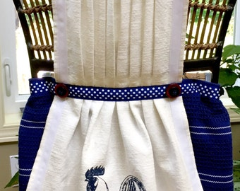 Navy Polka Dot Rooster S-M