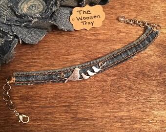 Denim Cuff Bracelet with Silver Birds