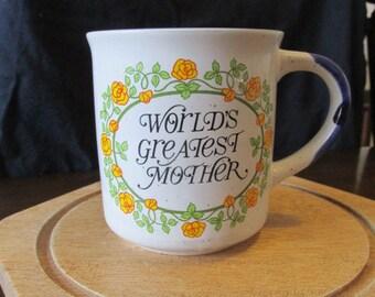 Ceramic coffee mug world's greatest mother novelty Mother's Day birthday gift flower Korea vintage 80s.
