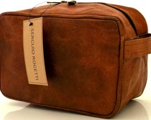 New Hand Made Chic Leather Wash Bag Tolietry Dopp Kit Travel Holiday