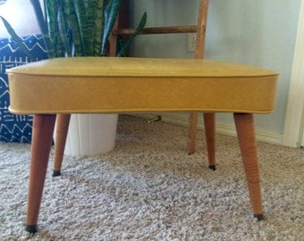 Mid-century Footstool Ottoman Yellow Vinyl With Tapered Wood Legs