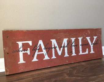 Family where life begins and love never ends barn wood sign