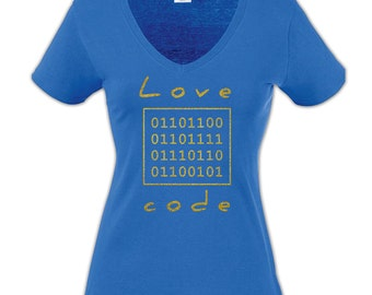 Love Code Royal Blue Women T-shirt with Gold Glitter
