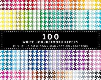 100 white houndstooth paper, Digital paper, Commercial use, houndstooth pattern, digital houndstooth paper, digital scrap booking paper