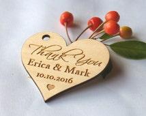 SET OF 10 Thank you wedding tags-Wedding favors-Wedding favor tags-Hearts tags-Wedding favor rustic-Wedding tag-Custom tags-Wooden tags