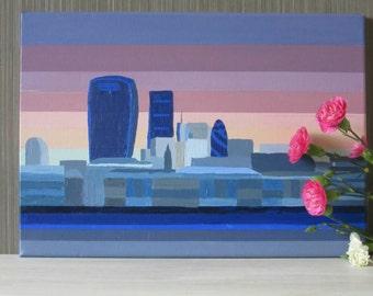 London skyline painting, canvas, cityscape