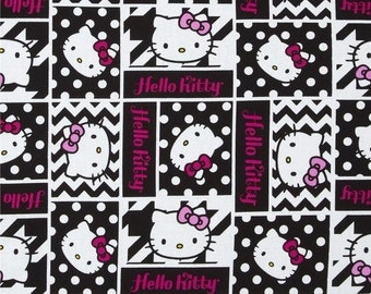 "Hello Kitty Fabric - Hello Kitty Fabric Geometric Face Patch 100% cotton fabric 44"", A265"