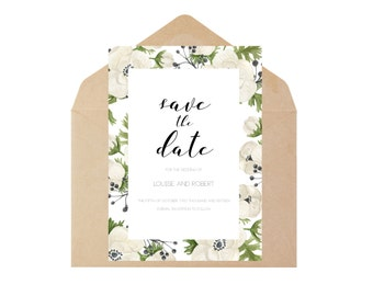 Fully Customised Save the Date Printable - Anemone Flowers - Floral