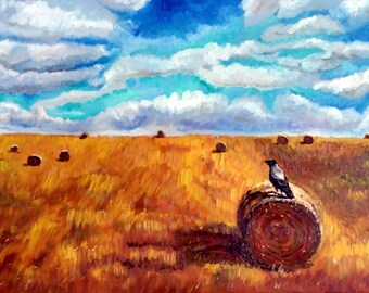 "Original Oil Painting, Field Harvest -Canada landscape, 48""x24"""