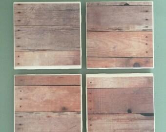 Wood Grain Look Coasters: Set of 4