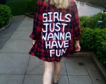 Girls Just Wanna Have Fun RED FLANNEL DRESS Handpainted
