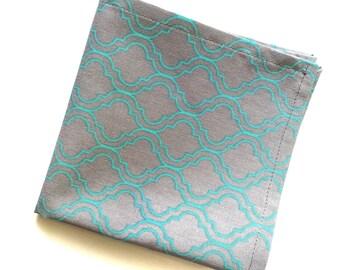 Gray and Aqua Damask Design Pocket Square