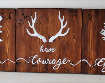 Tribal Nursery Decor- Wooden Signs Set of 3 'Be brave, have courage and explore' - Childrens Bedroom Sign - Rustic Nursery Decor - Woodland