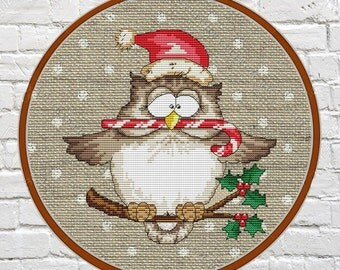 owl cross stitch Cross Stitch owl Christmas Cross Stitch Pattern Chart PDF Christmas Decorations Xmas Craft embroidery owl pattern