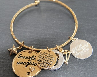 Daughter Gold Charm Bracelet Sentiment Message Bangle