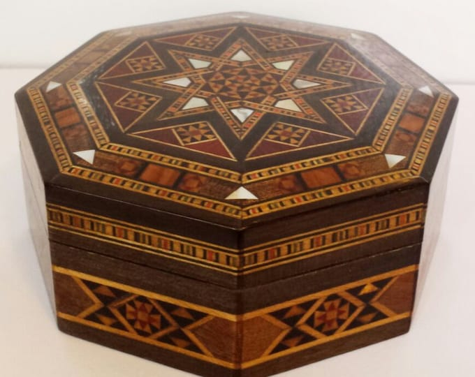 Jewelry Box, Wooden Box, Multipurpose Storage Wooden Box, Home Decor, Jewelry storage, trinket box, Syrian Mosaic, Syrian Art, Marquetry Box