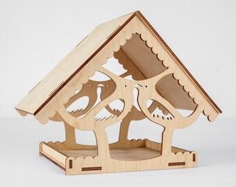 Wood Bird Feeder - Wooden Birdfeeder - Feeder - Garden Decoration