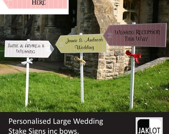 WEDDING STAKE SIGN Large Personalised Road decoration vintage arrow ribbon Outdoor directional