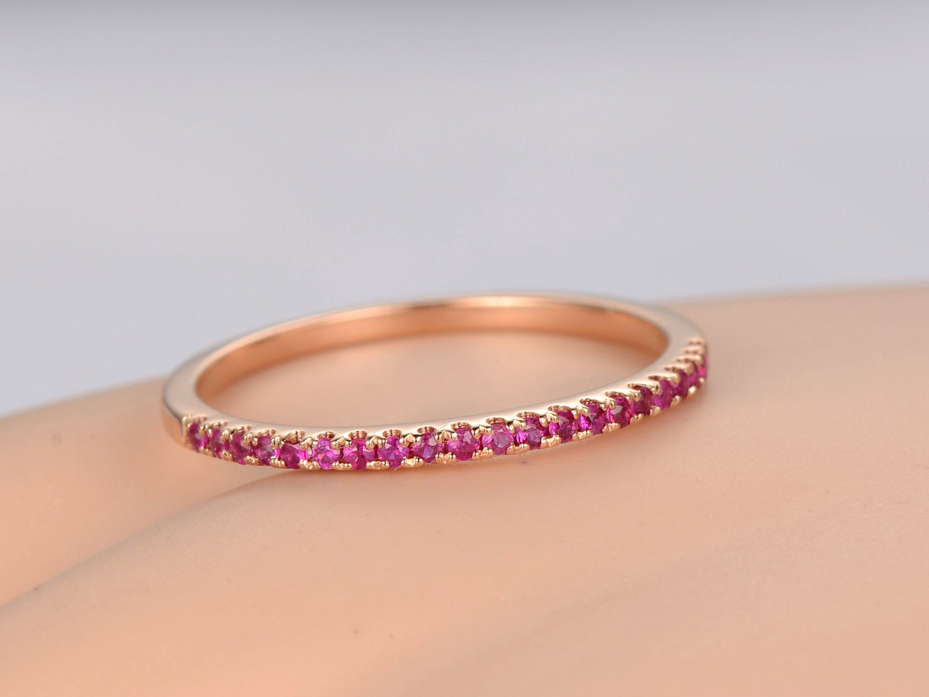 Natural Red Ruby Wedding Band Solid 14k Rose Goldhalf