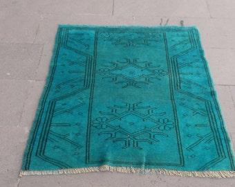 vintage overdyed blue wool rug 99x80 cm 3,2x2,6feet