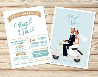 Wedding Portrait Illustration, Wedding Invitation, Wedding Portrait, Wedding gift, Wedding card, Save the Date, Couple Portrait,